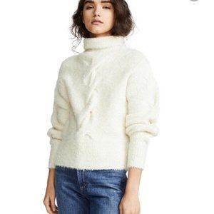 Theory Ivory Mohair Boucle Cable Knit Turtle Neck